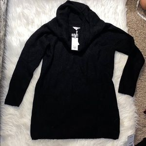 Black long sweater, cowl neck